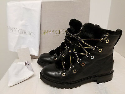 d632723958d1 Jimmy Choo Hillary Genuine Shearling Trim Combat Boot 10US 40EU  Orig 1450+TAX