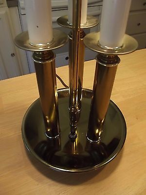 Vintage Brass Bouillotte 3 Candle double Socket Lamp Hollywood Regency USA