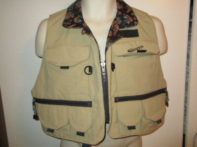 SIMMS FISHING PRODUCTS Fishing Vest TAN KHAKI Bozeman Montana LINED SZ LARGE