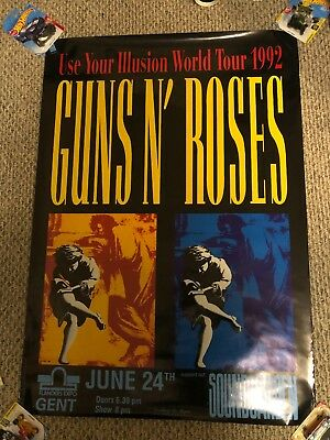 Guns N' Roses Use Your Illusion Tour Poster Belgium 1992 Soundgarden CANCELED