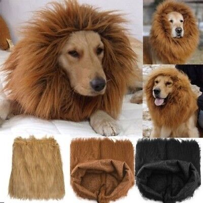 Pet Costume Lion Mane Wig For Dog Halloween Cloth Festival Fancy Dress Up Cute