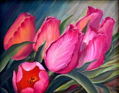 """RED TULIPS 20X16"""" Realistic Art Floral Original Oil Painting New Nadia Bykova"""