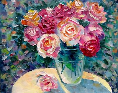 "BOUQUET OF ROSES ON GARDEN TABLE 20X16"" Realistic Floral Original Oil Painting"