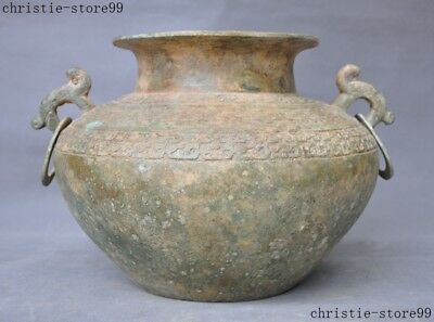 Ancient Chinese dynasty Bronze Ware beast face Tank Crock Pot Jar wine container