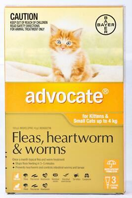 NEW Advocate For Kittens & small Cats Up To 4Kg Orange 3 Pack