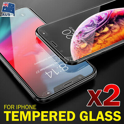 For Apple iPhone XS Max XR X - 2x Scratch Resist Tempered Glass Screen Protector