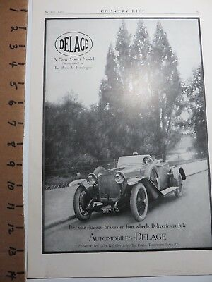 Collectible Vintage 1920 Real Picture Delage Auto Ad