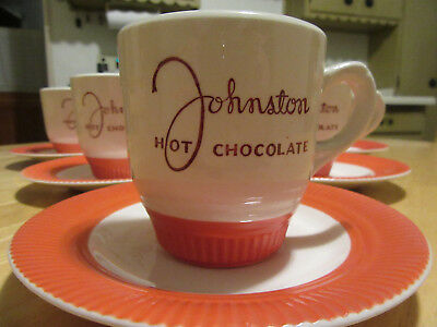 Pair of Johnston Hot Chocolate Antique Ceramic Mug - Victory - Salem Ohio