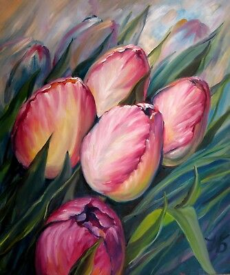 "PINK TULIPS 24X20"" Realistic Art Floral Original Oil Painting New Nadia Bykova"