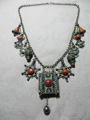 Old Antique Moroccan Berber Coral/Tiznit Enamel Silver Charms/Box Chain Necklace