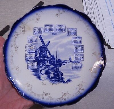 Antique 1911 Flow & Delft Blue Calendar Plate Crawfordsville Indiana