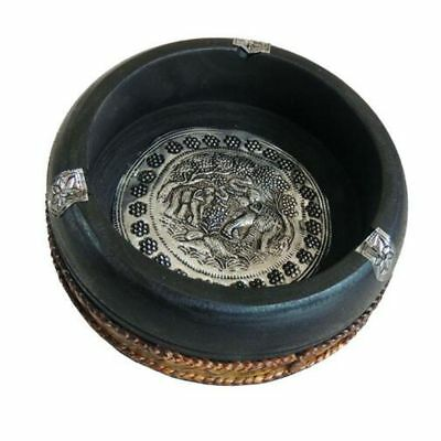 """New Thai Carved Ashtray with Elephant Silver Plate and Hemp Rope Solid Wood 3"""""""