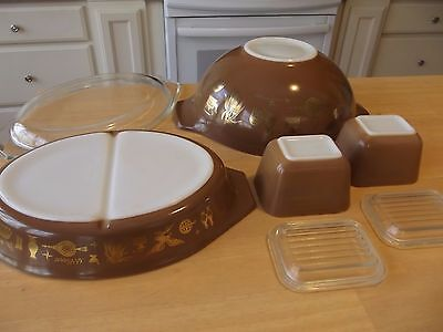 PYREX EARLY AMERICAN BROWN & GOLD BOWL LIDS casserole eagle cat corn wheat
