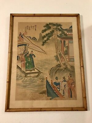 Antique Framed Chinese Silk Painting Red Seal Signed