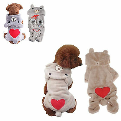 Dog Jumpsuit Fleece Jackets Cute Winter Coat Clothes XSmall For Puppies