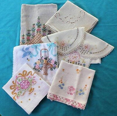 Vintage Tablecloth Dresser Scarf Table Runner Linens Lot of 8 Embroidery #1