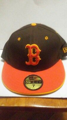 finest selection 59e08 d281a New Era Cap Hat 59Fifty Boston Red Sox 7 Brown Custom Fitted