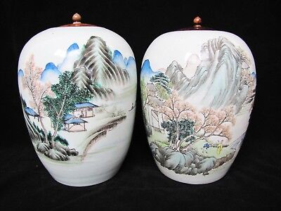 Pair of Antique Early 20th Century Chinese Porcelain Jugs