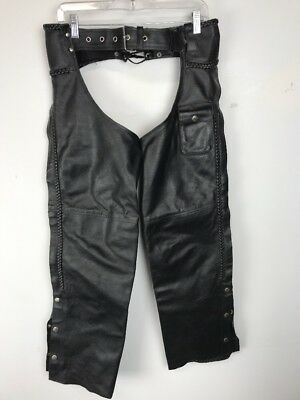 GENUINE LEATHER  Motorcycle Riding Chaps Black w/ Zipper Sides Size S