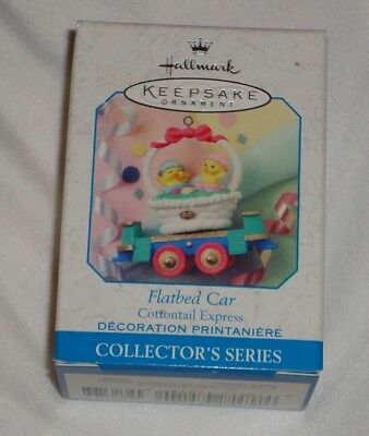 Hallmark Spring / Easter Ornament ~ Cottontail Express ~ Flatbed Car ~ 1999 *new