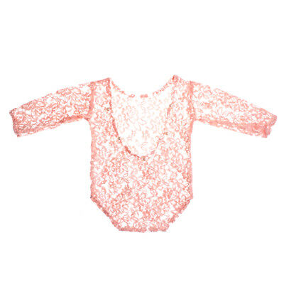 Pink Vintage Newborn Baby Girl Lace Romper Bodysuit Pearl Photography Props ZP