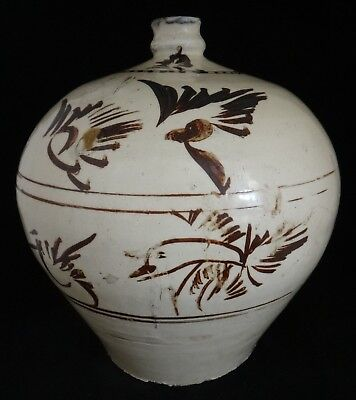 "Chinese Song/Yuan Dynasty Cizhou Vase. Birds in flight, 11th/14th c. 10"" tall"