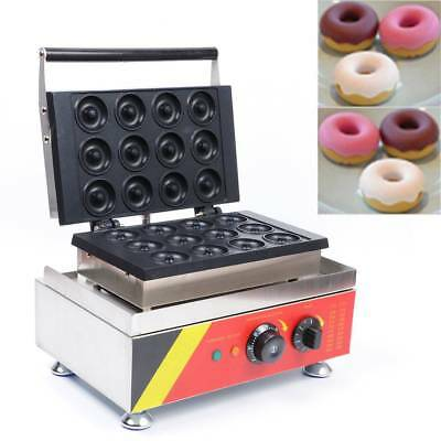 MTN 12pcs Donut Maker Commercial Electric Timing Snack Machine 1500W 240V