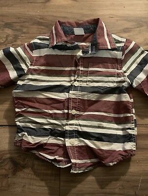 Gymboree Huddle Up Boys Long Sleeve Button Up Shirt Size 18-24 Months Maroon