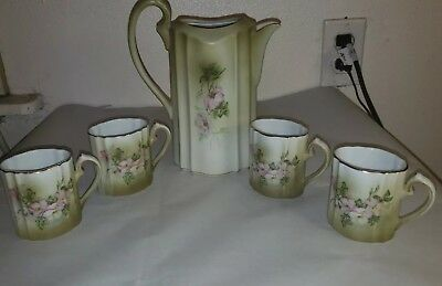Antique Hand Painted NIPPON TEA SET  Pitcher 4 Coffee Mug Cups Pink Flowers