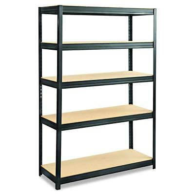 Safco Products 6246BL Boltless Steel and Particleboard Shelving 5 Shelves, Black