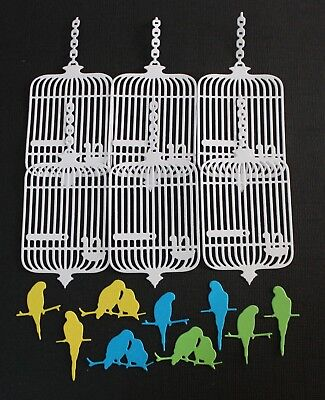 6 x White Bird Cage & 9 x Coloured Birds Die Cuts Card Toppers Or Scrapbooking