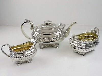 Outstanding Georgian SILVER 3 piece TEA SERVICE London 1817 Angell 1175g teaset