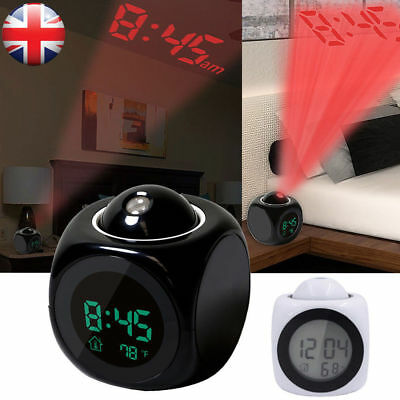 Adjustable Swivel Projector LCD Talking Projection Alarm Clock Time&Temp Display