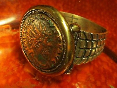 Authentic Ancient Roman Emperor Bronze Coin 925 silver Mens Ring!