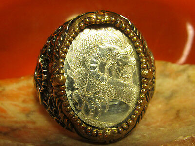 Solid Silver and Bronze Mens Dragon Ring Custom Made never worn!
