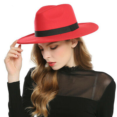 Fashion Women\u0027s Wide Brim Wool Felt Hats Fedora Men Hat Jazz Sombrero Cap FASHION WIDE BRIM Vintage Women