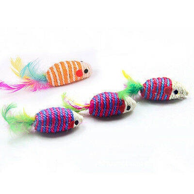 WOW Sisal Little Mouse With Colorful Tail Entertaining For Cat Pet With Sound