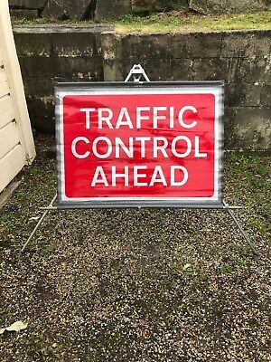 Traffic Control Ahead Roll-Up Road Sign & Tripod Stand