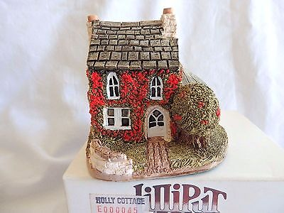 """Lilliput Lane """"Holly Cottage"""".Deed/Box.Early Cottage Ex cond"""