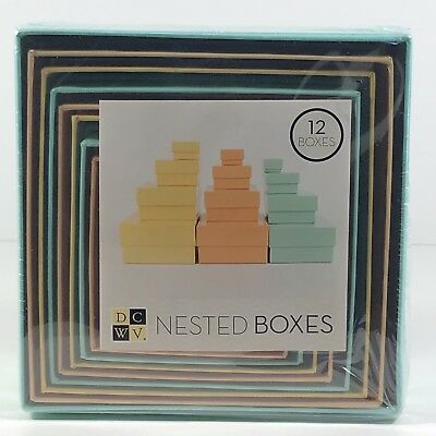 American Crafts Nesting Boxes - Gift 3 Colors Yellow Aqua Peach 12 Various Sizes