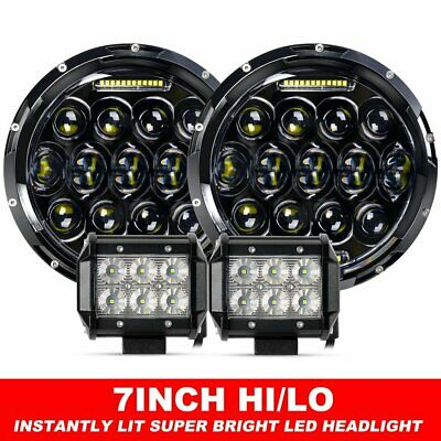 "2X 7"" inch Black For JEEP JK GQ PATROL Projector LED Headlight DRL+4"" Flood Pods"