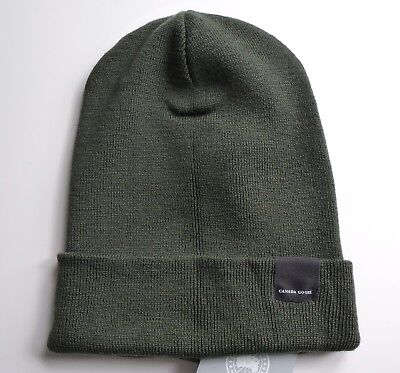Genuine CANADA GOOSE Military Green MERINO WOOL BEANIE Toque Hat Tags GENUINE !