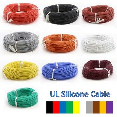 0.08mm 30AWG UL Silicone Cable Flexible Wire Stranded Copper 0.5A 600V Colored