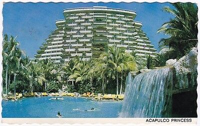 1980s VINTAGE COLOUR POSTCARD Acapulco Princess Hotel, Mexico + STAMPS