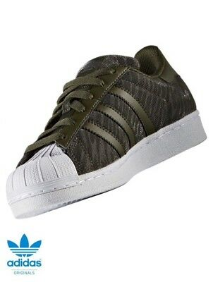 8df100f0c017 Adidas Originaux Junior Superstar Paillette Baskets Vert Olive BB0314 Neuf  en