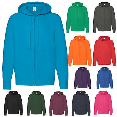 Fruit Of The Loom Lightweight Full Zip Hooded Sweatshirt Hoodie Ss122