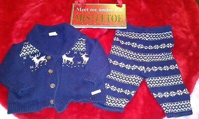 Janie And Jack Boys Sweat Suit 0 -3  Months navy blue sweater and sweatpants set