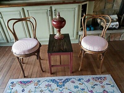 Pair Of J & J Kohn Antique Bentwood Chairs New Red Stripe Ticking Upholstery
