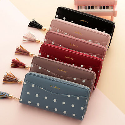 Women Leather Long Wallet Zipper Party Clutch Phone Bag Card Holder Coin Purse