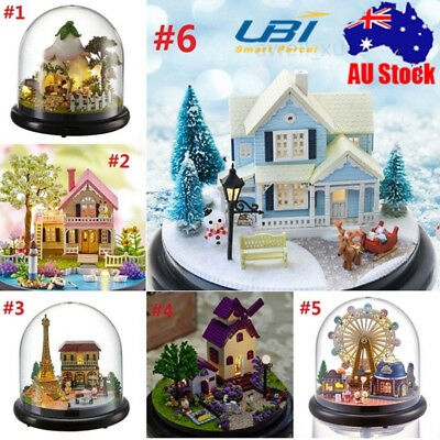 DIY Glass Ball Doll House Model Building Kits Wooden Miniature Dollhouse w/Light
